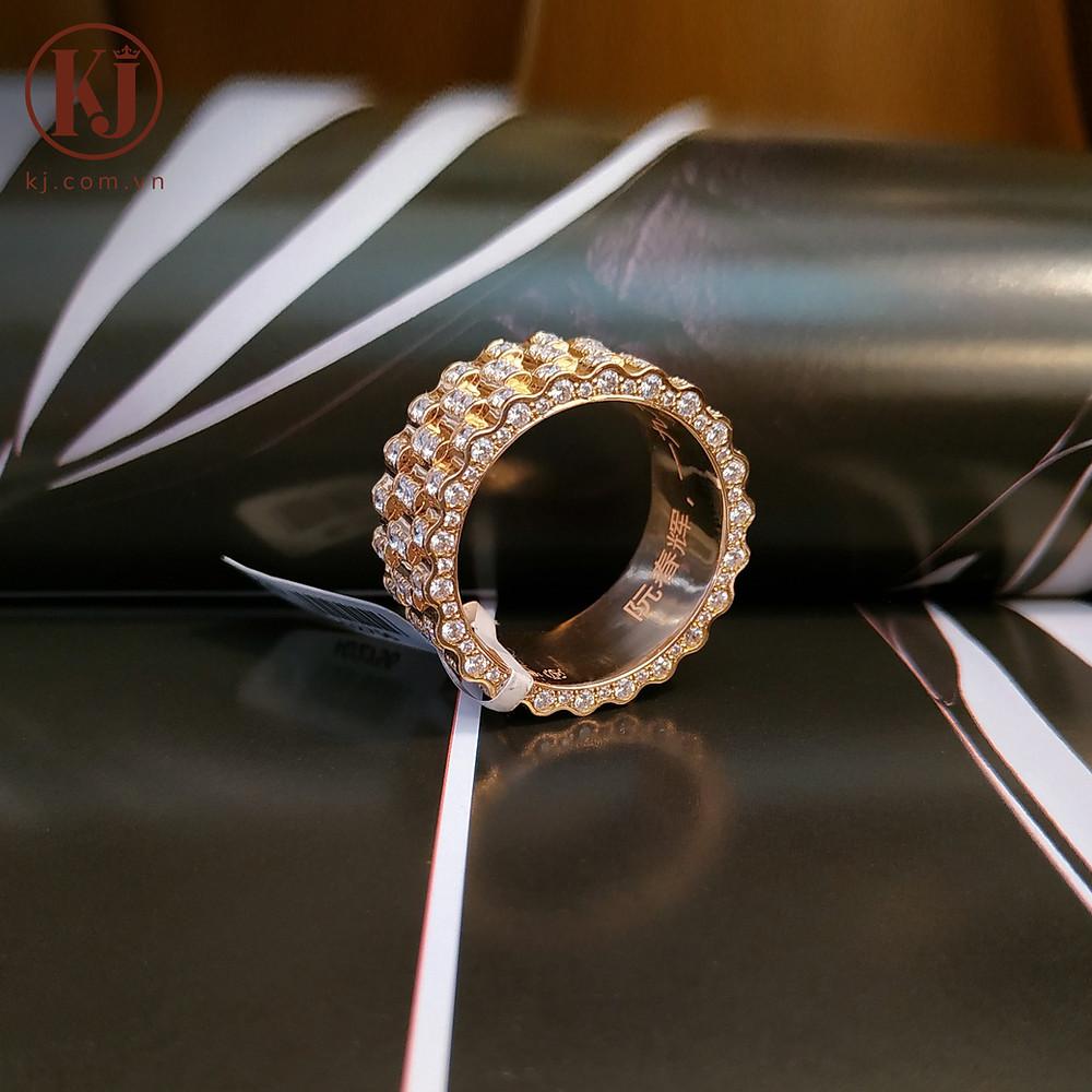 Nhẫn nam vàng hồng đính kim cương