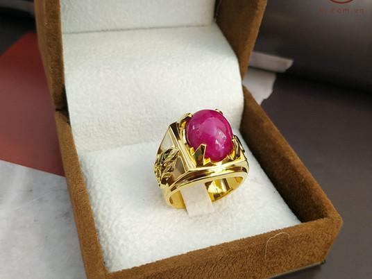 Nhẫn nam Ruby thiết kế và chế tác dựa trên viên đá có sẵn của khách hàng Đạt Nguyễn ( Quảng Ninh)