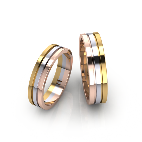 Nhẫn cưới thiết kế 3 màu KJW0177