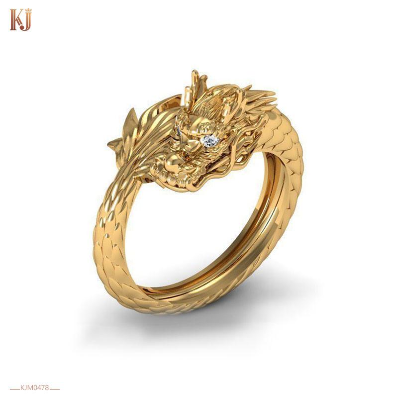 Nhẫn nam Rồng cuộn một vòng