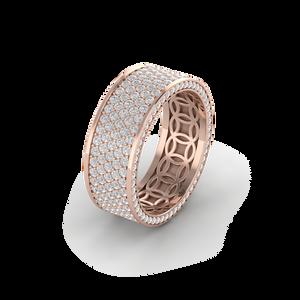 Nhẫn nam vàng hồng đính kim cương full bề mặt nhẫn