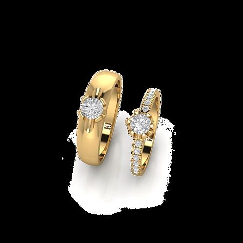 Nhẫn cưới vàng đính đá lãng mạn KJW0272