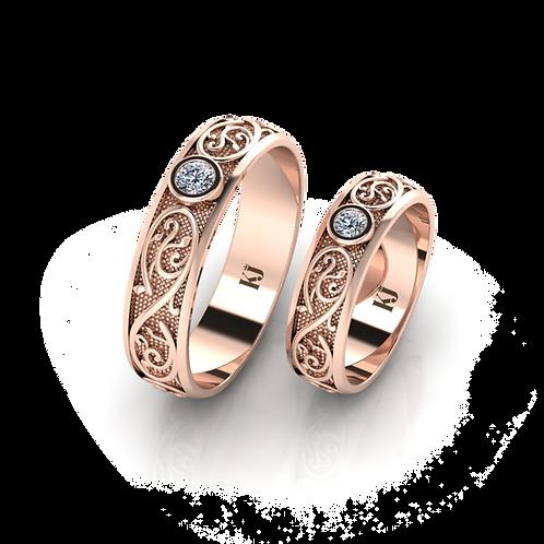 Nhẫn cưới thiết kế họa tiết hoàng gia KJW0043