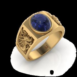 Nhẫn nam Rồng đính đá Saphire