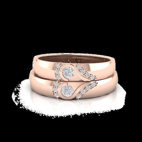 Nhẫn cưới thiết kế hai nửa trái tim vàng hồng KJW0027