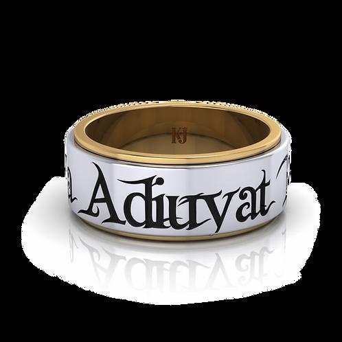 Nhẫn nam thiết kế xoay chữ Adiuvat Fortis Fortuna KJM0248