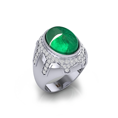 Nhẫn nam Emerald mệnh Mộc KJM0585