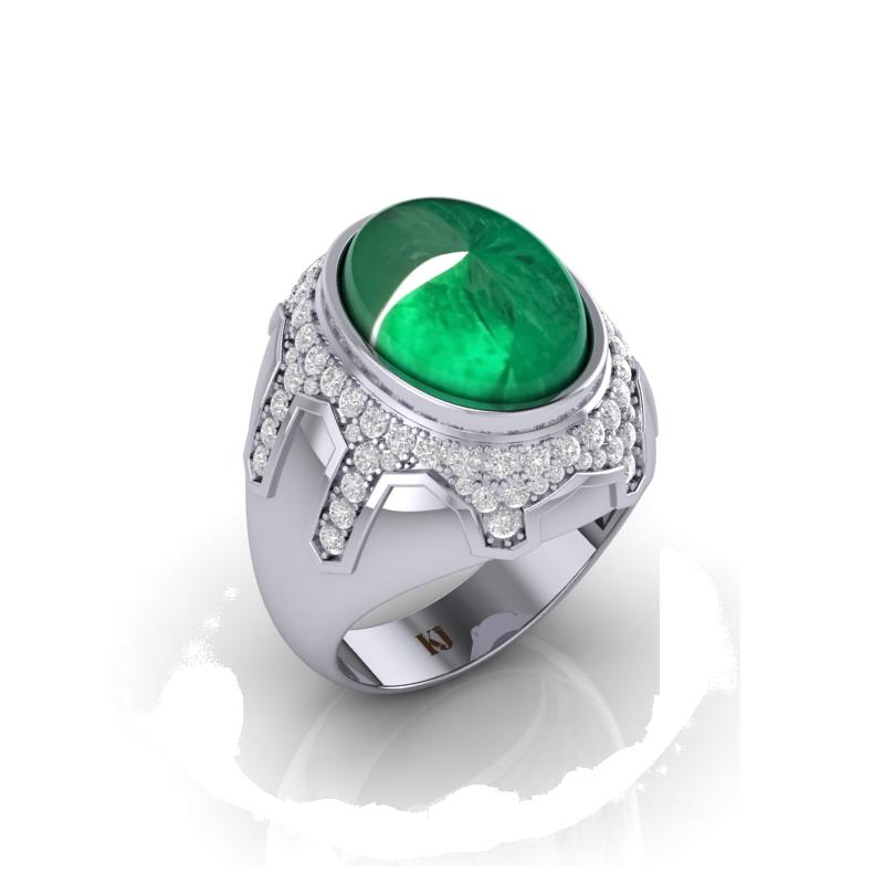 Emerald mài cắt kiểu Cacbochon trên trang sức