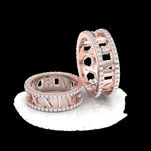 Nhẫn cưới thiết kế số La Mã KJW0154