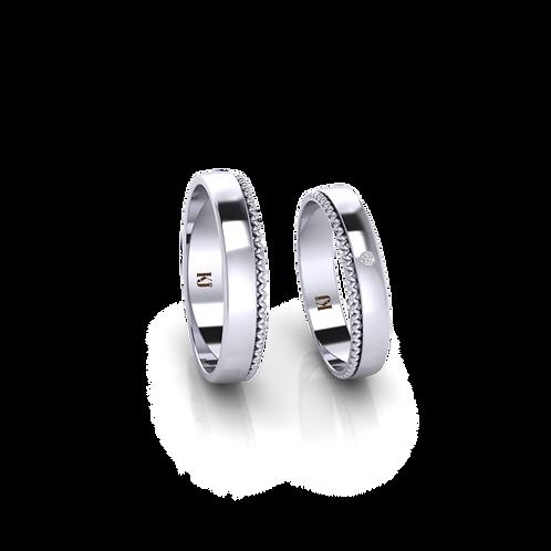 Nhẫn cưới trơn viền xoắn KJW0283