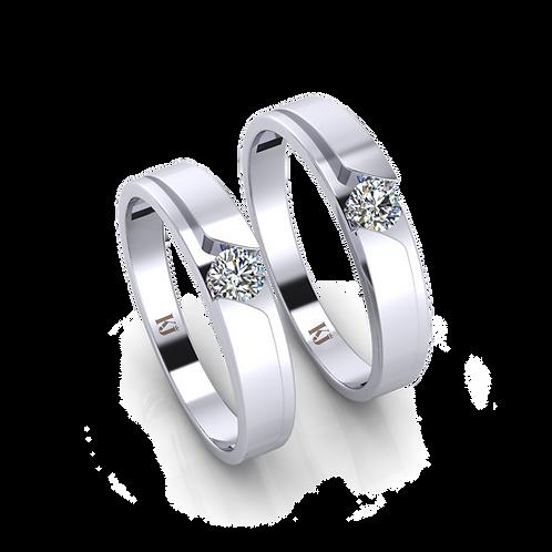 Nhẫn cưới vàng trắng thiết kế KJW0025