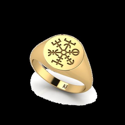 Nhẫn signet khắc biếu tượng KJM0605