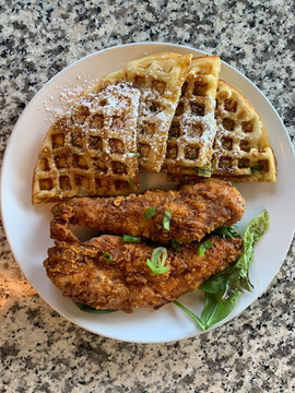 Sesame Scallion Waffle and Korean Tenders