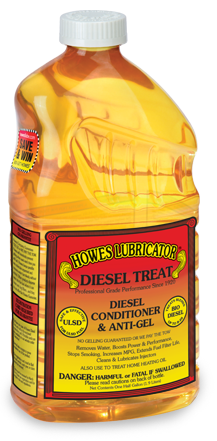 """Howes Diesel Treat provides superior cold weather protection and is safe and effective in all diesel and biodiesel blends to B-20. Diesel Treat prevents fuel from gelling, increases power and fuel economy. It is guaranteed to prevent gelling or Howes pays the tow. 64 OZ. (1/2 gal.) """"Big Bottle"""" $15.99  Call about bulk pricing 2 or more cases, 6 bottles per case."""