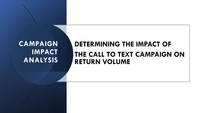 THE IMPACT OF THE CALL TO TEXT CAMPAIGN ON RETURN VOLUME