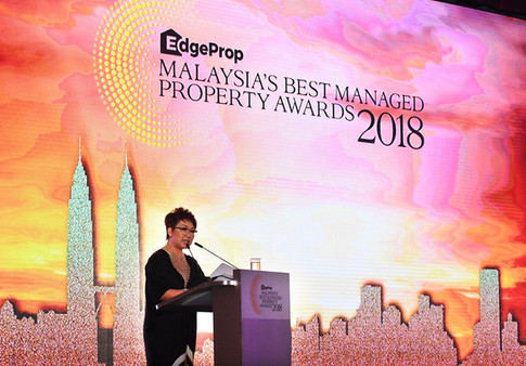 EdgeProp.my managing director and editor-in-chief Au Foong Yee delivering speech during the awards giving ceremony