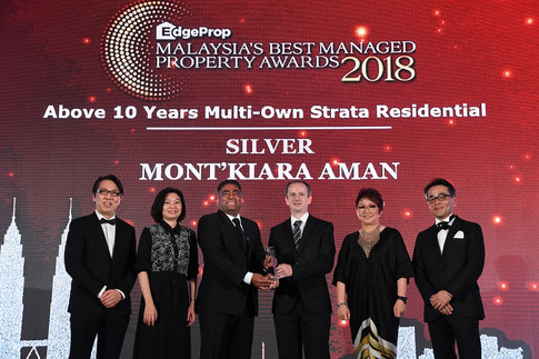 EdgeProp Malaysia's Best Managed Property Awards - Below 10 years Multi-own Strata Residential Category Silver winner: (From left) Nippon Paint Malaysia general manager of sales Tay Sze Tuck, EdgeProp.my executive editor Sharon Kam, SCM Property Services Sdn Bhd general manager Paul Richard, Mont'Kiara Aman Management Corporation chairman Jerome Eric Martinent, EdgeProp.my managing director and editor-in-chief Au Foong Yee and Panasonic Malaysia deputy managing director Hiroyuki Muto.