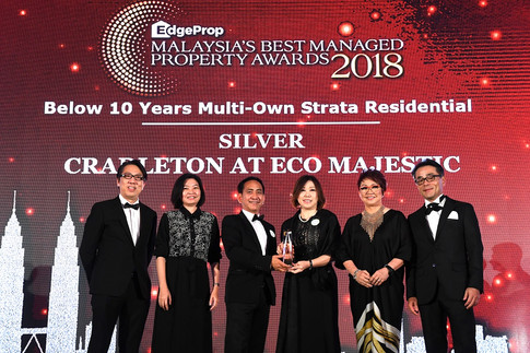 EdgeProp Malaysia's Best Managed Property Awards - Below 10 years Multi-own Strata Residential Category Joint Silver winner: (From left) Nippon Paint Malaysia general manager of sales Tay Sze Tuck, EdgeProp.my executive editor Sharon Kam, Eco Majestic assistant general manager Wong Chee Seng, Eco World Group Development Group Bhd divisional general manager Evon Yap Yoke Ching, EdgeProp.my managing director and editor-in-chief Au Foong Yee and Panasonic Malaysia deputy managing director Hiroyuki Muto.