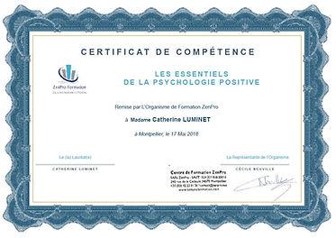 certificat compétences Essentiels Psychologie Positive Catherine Luminet