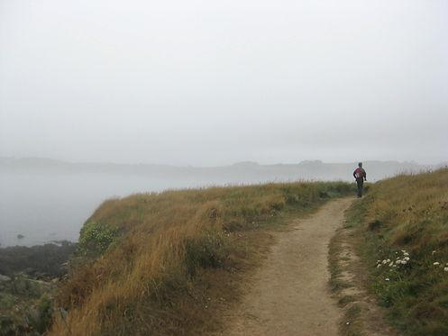 Homme qui marche sur un sentier de randonnée