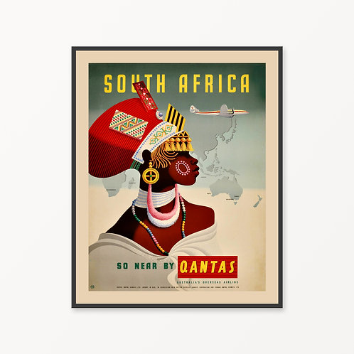 South Africa Vintage Travel Poster
