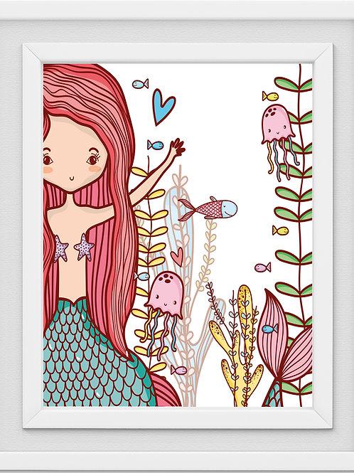 Mermaid Nursery Print M1258