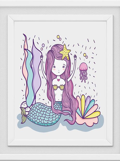 Mermaid Nursery Print M1090