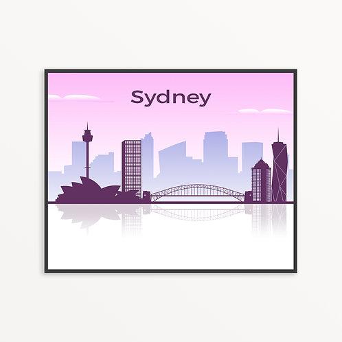 Colorful Sydney City Silhouette v1