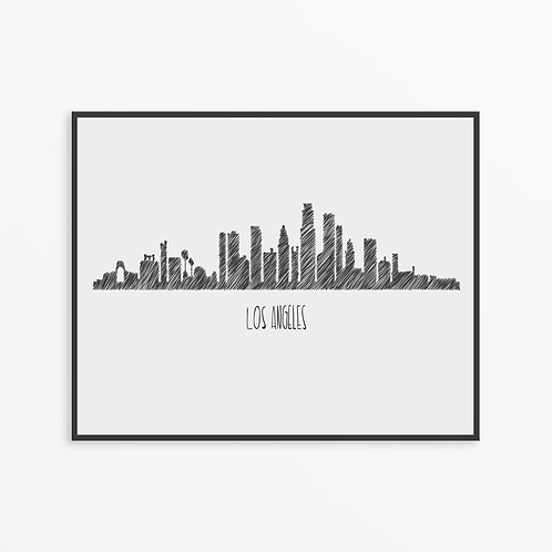 Sketchy Los Angeles City Silhouette