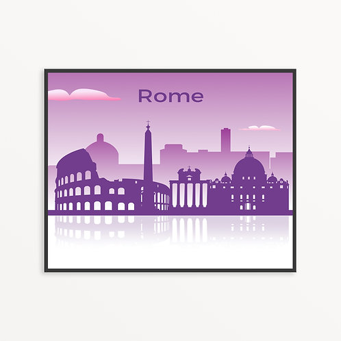 Colorful Rome City Silhouette v1