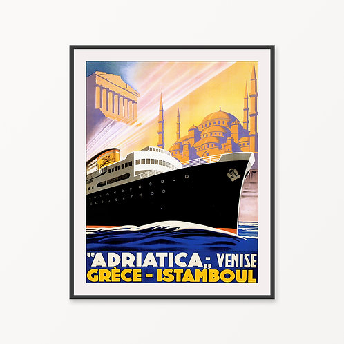 Venice-Greece-Istanbul Vintage Travel Poster
