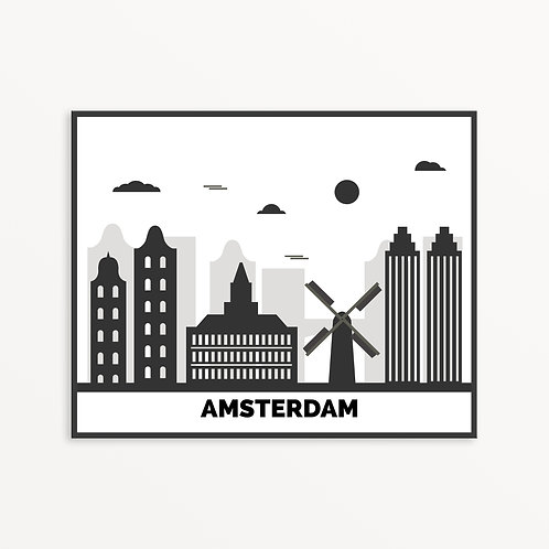 Amsterdam City Silhouette v1