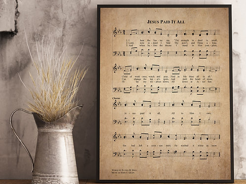 Jesus Paid it all - Hymn Print