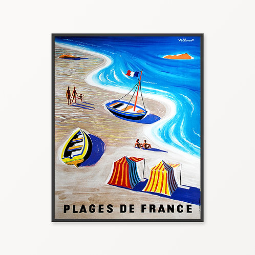 Plages de France Vintage Travel Poster v2
