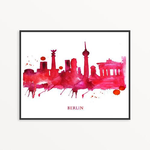 Watercolor Berlin City Silhouette