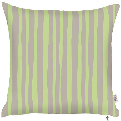 Pillow Cover - Green Stripes on Grey -502-8323/1