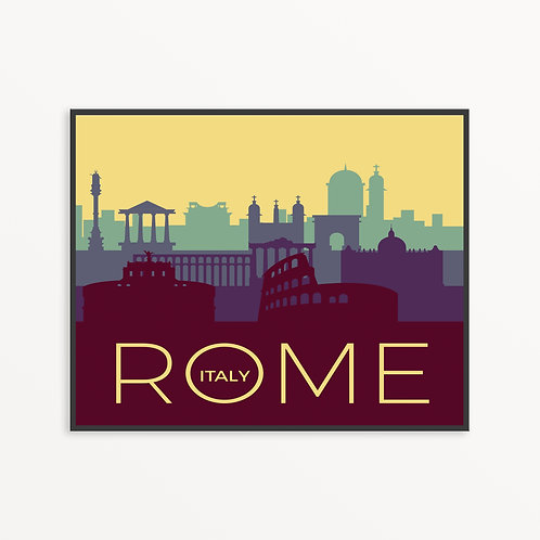 Colorful Rome City Silhouette v2