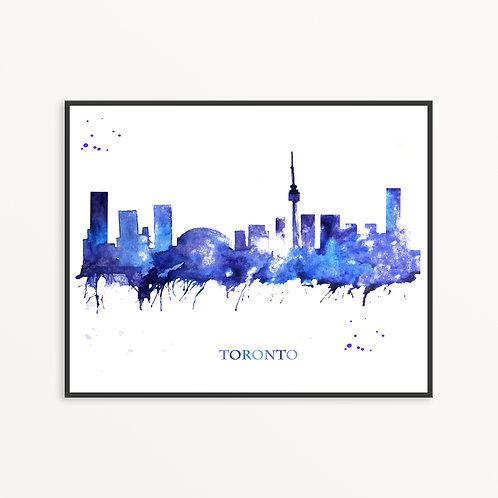 Watercolor Toronto City Silhouette