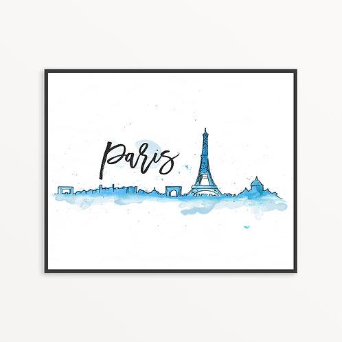 Watercolor Paris City Silhouette v2