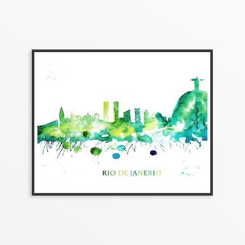 Watercolor Rio de Janerio City Silhouette