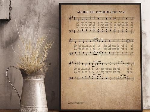 All hail the power of Jesus name- Hymn Print