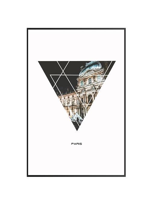 """Paris Triangular Poster 24""""x36"""" - v2"""