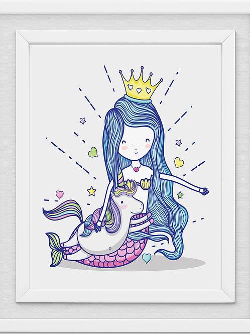 Mermaid Nursery Print M1076