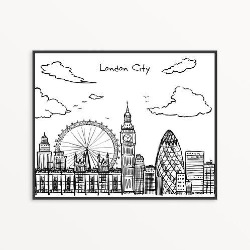 Hand Drawn London City Silhouette