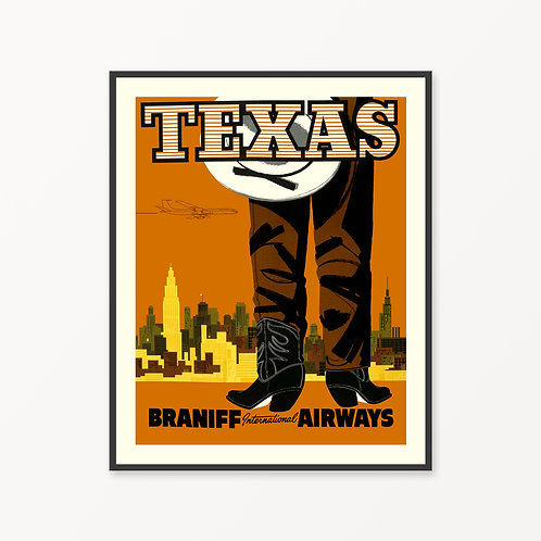 Texas Vintage Travel Poster