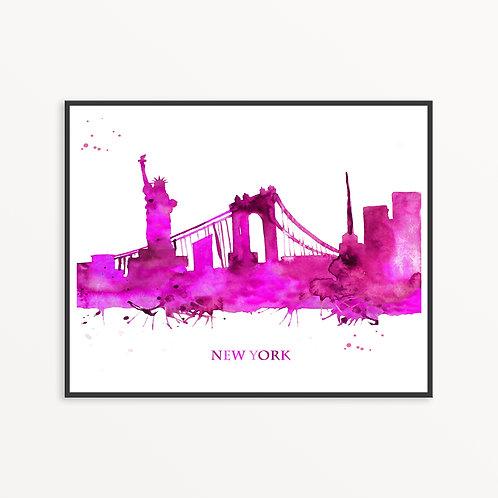 Watercolor New York City Silhouette