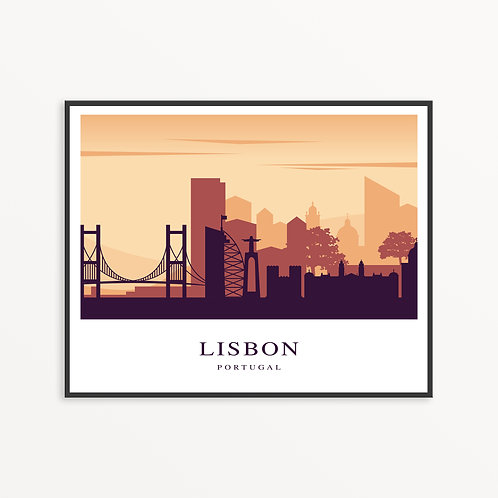 Colorful Lisbon City Silhouette v2