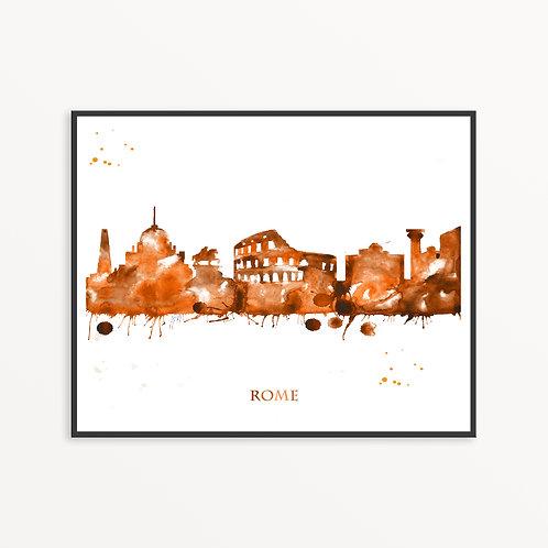 Watercolor Rome City Silhouette