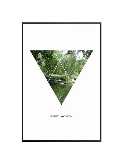 "Fort Worth Triangular City Poster 24""x36"" - v2"