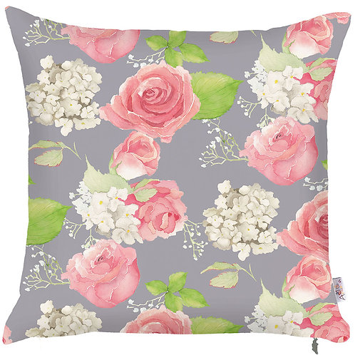 Pillow Cover - Roses on Grey - 502-8234/2